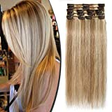 100% Real Remy Hair Clip in Human Hair Extensions Full Head 8pcs 16-22inch