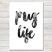 Pug Life, Funny Home Gift, Living Room Print, A4 or A3