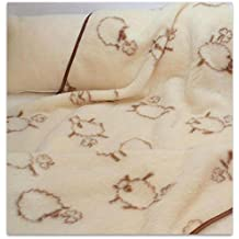Manta de Lana Merino Natural Happy Oveja Todos los tamaños Woolmarked, Lana, Double 160