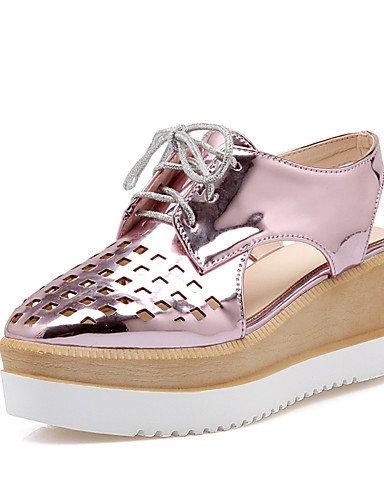 WSS 2016 Chaussures Femme-Habillé / Décontracté-Rose / Rouge / Argent / Or-Talon Compensé-Compensées / A Plateau / A Bride Arrière / Bout Carré- silver-us9.5-10 / eu41 / uk7.5-8 / cn42