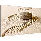 Bild Feng Shui Sand Garten Wandbild Vlies - Leinwand Bilder XXL Format Wandbilder Wohnzimmer Wohnung Deko Kunstdrucke Beige 1 Teilig - MADE IN GERMANY - Fertig zum Aufhängen 501414a