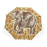 GUKENQ Stylized Fantasy Elefant Reise-Regenschirm leicht, Anti-UV-Schutz Sonnenschirm für Männer Frauen und Kinder, Winddicht, faltbar, kompakt