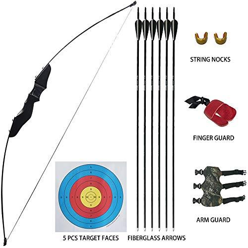 D&Q Recurvebogen und Pfeil Set für Kinder und Jugendliche Jagd Schießen Kit Rechte Hand 35LB Bogenschießen Training Spielzeug