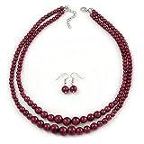 2rangées par couches Canneberge Rouge Dégradé Perle en verre Ensemble collier et boucles d'oreilles pendantes–50cm L/4cm Ext