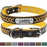 Vcalabashor Hundehalsband mit Namen und Telefonnummer,Hundehalsband Anh?nger mit Gravur,Hundehalsband Leder,L 36-46cm,Gelb