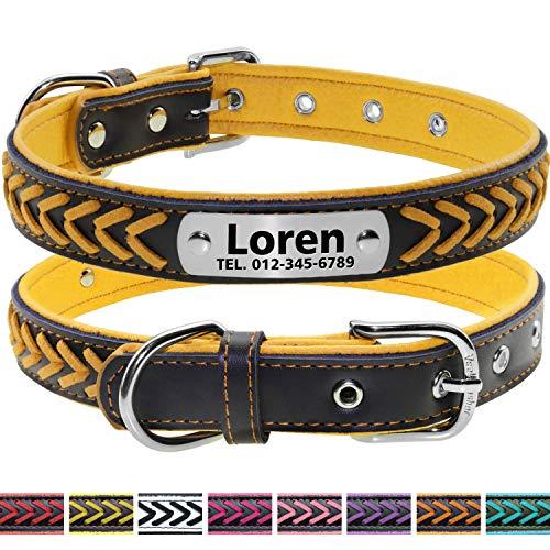 Vcalabashor Nombre Vcalabashor personalizado collar de perro de piel / cuero trenzado genuino plateado collares de perro 23.5-30cm Amarillo / Negro