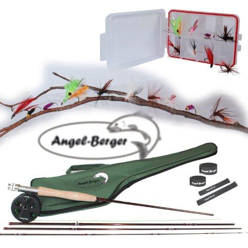 Angel Berger Fliegencombo Fliegen Set fertig montiert inkl. 10 fängigen Fliegen