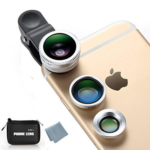 Elfenstall 3 in 1 Clip-On 185° Supreme Fisheye + 0.65X Weitwinkel + 10X Makro Handy-Linsen mit Aufbewahrungstasche und Mikrofaser-Reinigunstuch für z.B. Apple Iphone 4 / 4S / 4G / 5 / 5G / Apple I phone 6 / Iphone 6 plus iphone 6S 6S PLUS-Ipad Samsung / Huawei in der Farbe silber