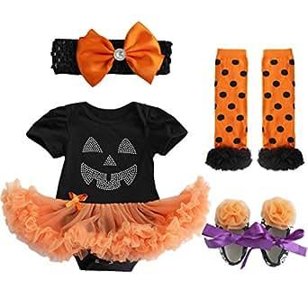 iEFiEL Newborn Baby Girls 4PCS Clothing Sets Tutu Romper + Headbands + Leggings + Shoes Black Pumpkin Mask 0-3 Months