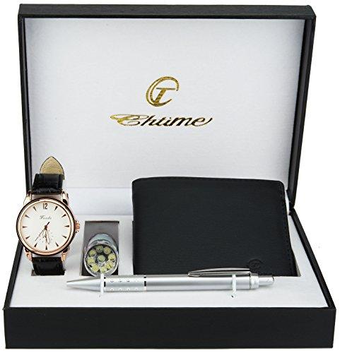 Geschenkset Herren armbanduhr- weiß - Taschenlampe LED - Schweizer Taschenmesser - Brieftasche - Stift