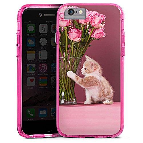 Apple iPhone 6s Bumper Hülle Bumper Case Glitzer Hülle Kitten Baby Katze Cat Bumper Case transparent pink