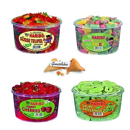 Haribo 4er Set Bundle Mix Happy Cherries, Brixx, Suesse Teufel, Saure Apfelringe und 1 Genussleben Glückskeks Gratis