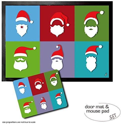 Set: 1 Fußmatte Türmatte (70x50 cm) + 1 Mauspad (23x19 cm) - Weihnachtsmann, Bart Trends, Pop-Art