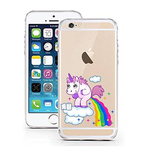 "licaso® Hülle für iPhone 6 6S 4,7"" TPU Einhorn Wolke Bunt iPhone 6 Case transparent Sketch klare Einhörner Schutzhülle iphone6 Tasche iPhone 6 Hülle Comic Hülle Unicorn Cases (iPhone 6 6S 4,7"", Einhorn Wolke)"