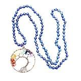 Collar de Piedras Preciosas Perlas Mala, 108 Buddhist Prayer Beads Collar, Collar anudadas a Mano (Lapis Lazuli)