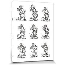 Set: Mickey Mouse, Sketched - Multi Cuadro, Lienzo Montado Sobre Bastidor (80x60 cm) + 1x 1 Accesorio Decorativo De Promoción 1art1®