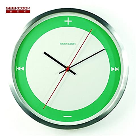ZYPMM 2017 Creative Metal horloge murale moderne maison simple mode horloge murale humidité anti-corrosion-Multi-Color ( Color : Green dial silver frame )