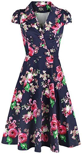 H&R London Robe À Fleurs Midnight Garden Robe mi-Longue Multicolore M