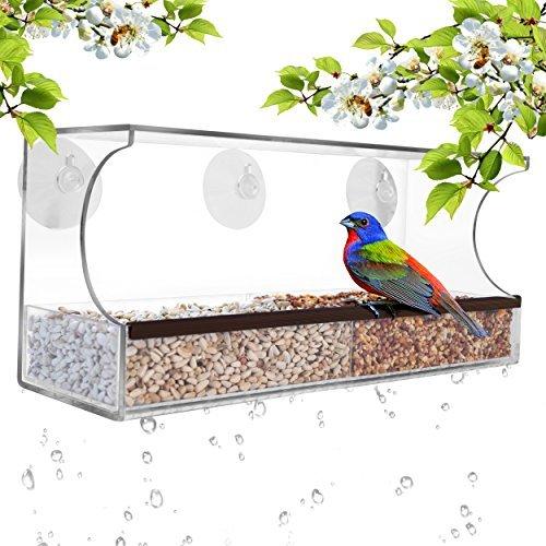 fenster vogelhaus GrayBunny GB-6851Deluxe Futterhaus, durchsichtiges Fenster, Futterhäuschen für Wildvögel mit Abflusslöchern und abnehmbarem Futtereinsatz, Super Starke Saugnäpfe