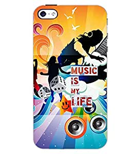 PrintDhaba MUSIC QUOTE D-7092 Back Case Cover for APPLE IPHONE 5 (Multi-Coloured)