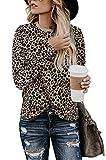Odosalii Damen Leopard Oberteile Langarm T-Shirt Rundhals Tunika Tops Casual Basic Bluse