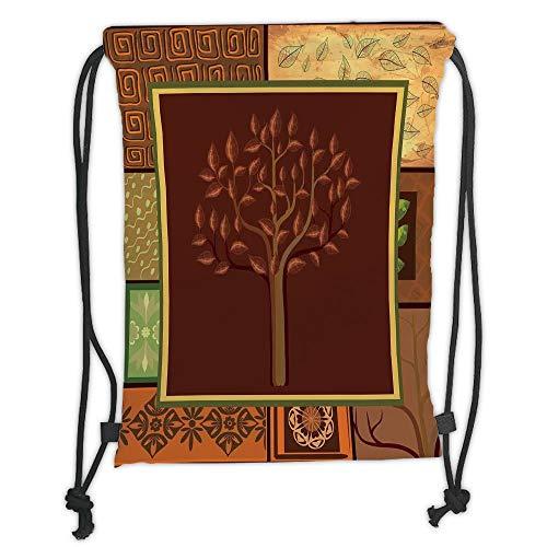 LULUZXOA Gym Bag Printed Drawstring Sack Backpacks Bags,Primitive,Tree Figure on African Tribal Motifs Leaf Floral Ornaments Native Folk Patterns,Brown Green Soft Satinr