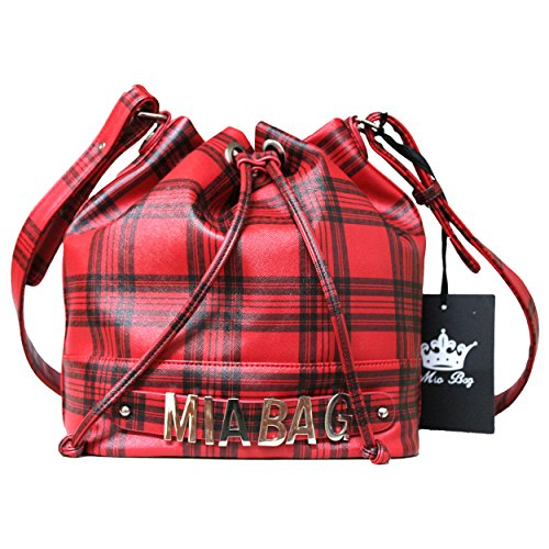 Mia Bag Borsa in ecopelle con tracolla a spalla Art. 14448 (Rosso tartan)