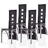 4er Set Küchenstuhl Esszimmerstuhl Freischwinger Hochlehner Stühle Sitzgruppe Stuhlgruppe (schwarz)