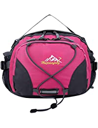 Waterproof Unisex Fanny Pack Travel Climbing Cycling Sport Bum Waist Bags With Belt Packet - Rose Red, 28*20*12cm