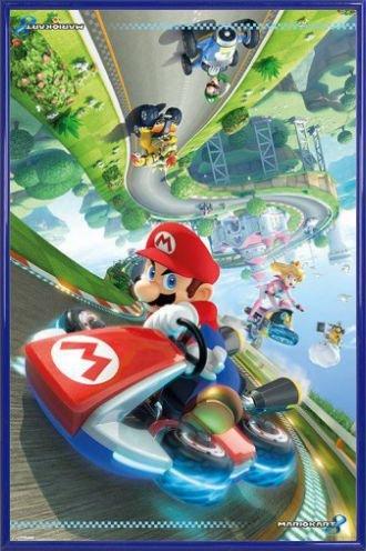 Super Mario Poster und Kunststoff-Rahmen - Kart 8, Prinzessin Peach, Luigi (91 x 61cm) (Luigi Und Prinzessin Peach)