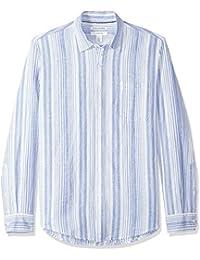 Amazon Essentials Slim-Fit Long-Sleeve Stripe Linen Shirt Uomo
