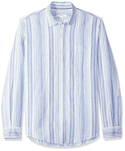 Amazon essentials - camicia da uomo in lino, con stampa, a maniche lunghe, aderente, blu a righe, us xl (eu xl - xxl)