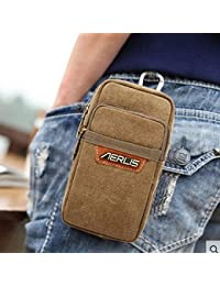 Buyworld 2018 New Men's Vintage Canvas Cell Mobile Phone Belt Pouch Purse Belt Fanny Pack Hook Waist Bag