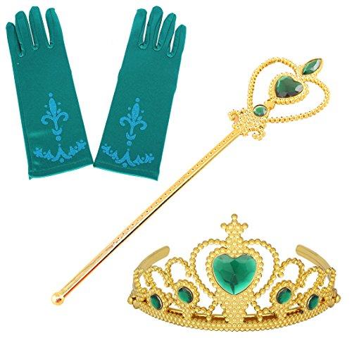 Fanryn Eiskönigin Kostüm Set Handschuhe,Zauberstab,Krone Diadem für kleine Prinzessinnen Anna für Party-Fieber Kleid / Mädchen-Kostüm Karneval Verkleidung Party (Kostüm Halloween Feuer Prinzessin)