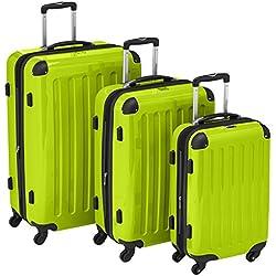 HAUPTSTADTKOFFER - Alex - Set di 3 valigie (S, M & L), 235 litri, Colore Mela Verde