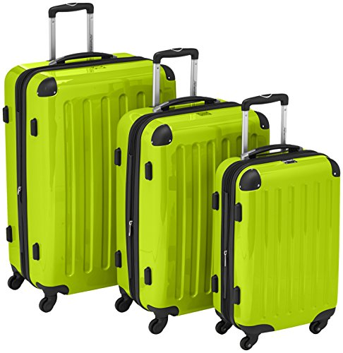 HAUPTSTADTKOFFER - Alex - Set of 3 Hard-side Luggages Glossy Suitcase Hardside Spinner Trolley Expandable (S, M & L) Applegreen