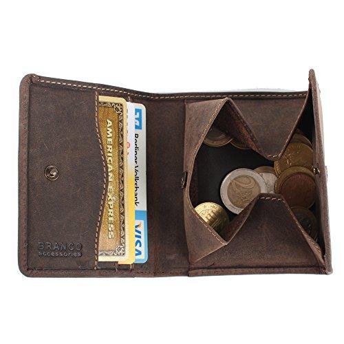 Portafoglio piccolo con Wiener scatola in pelle in marrone e Rust–rauleder Portamonete * Portamonete come borsa di Vienna marrone marrone marrone