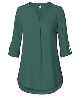 088ddae72e0daa ELFIN Damen Große Größen Freizeit Lange Ärmel V-Ausschnitt Chiffon Bluse  Locker Shirt Elegante Frauen