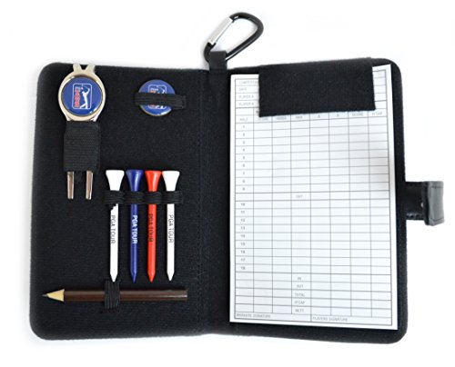 PGA Tour Leather Golf OrganiserPGA Tour leather scorecard organiser keeps all your little accessories in one place. One score card; One pencil; Four wooden tees; One divot tool with magnetic ball marker; One additional ball marker; A hook to attach t...