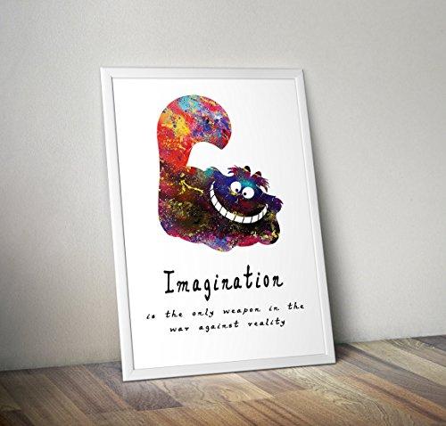 Alice im Wunderland inspiriert Aquarell Poster - Zitat - Alternative TV/Movie Prints in verschiedenen Größen (Rahmen nicht im Lieferumfang enthalten) (Alice Im Wunderland Poster)
