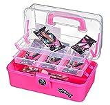 Fladen Fishing Kinder Angelkoffer- Angel Starter Set - Angelbox 2-ladig mit Zubehör / 15 Teile (Pink)