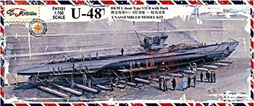 FlyHawk Modellbausatz Schiff 1/700 WWII Deutsche Marine U-Boot-Klasse VII U-48 (Wwii Marine-schiffe)