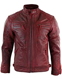 7d4841a1911 Aviatrix Mens Retro Style Zipped Biker Jacket Real Leather Soft Tan Brown  Casual