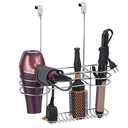 mDesign Porta phon da appendere - Organizer bagno perfetto per phon, piastra e accessori - Porta asciugacapelli da agganciare alla porta - argento