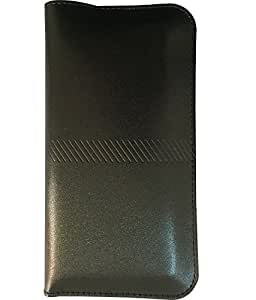 Zocardo Faux Leather smooth Pouch case For Vivo Y27L -Black - Premium designer pouch with packets for money, cards and items