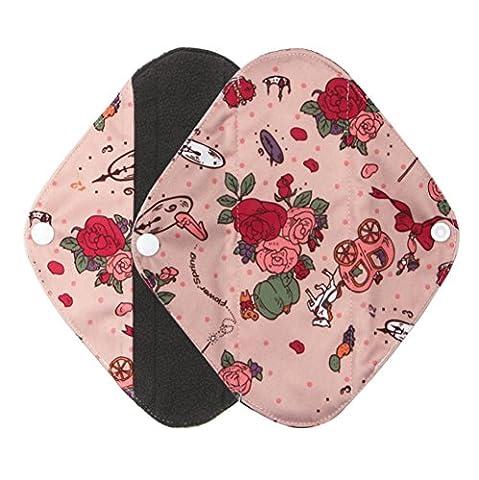 Garniture sanitaire, Ularma Réutilisable en bambou Charocoal lavable tampon menstruel Mama serviette hygiénique (L, Noir) (M, rose)