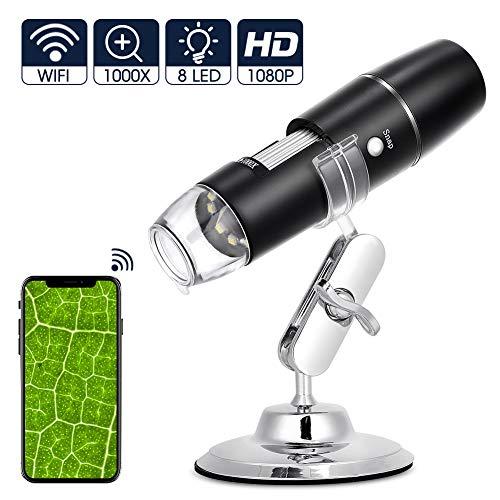 eecoo Microscopio Digitale WiFi, Microscopio Tascabile Portatile Ricaricabile 1080P HD 2MP, Endoscopio Ingrandimento 1000X, 8 LED, USB 2.0, Supporto in Metallo per iPhone iOS Android iPad