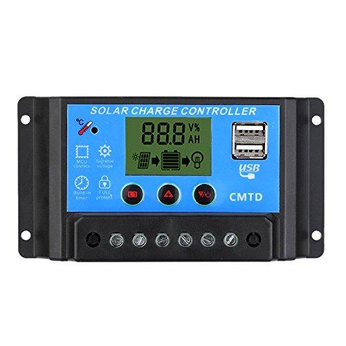 Decdeal Régulateur de Charge Solaire 20 a 12V/24V LCD avec Affichage Fonction Auto Régulateur pour Panneau Solaire Batterie Lampe