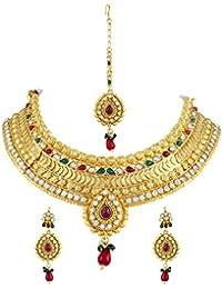 Asmitta Wavy Jalebi Shape Gold Plated Choker Style Necklace Set With Mangtikka For Women
