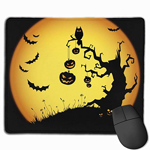 ASKSSD Mouse Pad Halloween in Moon Rectangle Non-Slip 9.8in11.8 in Unique Designs Gaming Rubber Mousepad Stitched Edges Mouse Mat